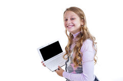 Schoolgirl with her netbook Stock Photo