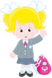 Schoolgirl with her schoolbag. Vector illustration of a little gymnasium student smiling, standing with a schoolbag and waving in greeting Royalty Free Stock Photography