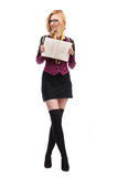 Schoolgirl with a high school diploma Royalty Free Stock Image