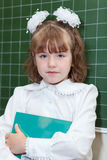 Schoolgirl holding a book and standing near blackboard Royalty Free Stock Photography
