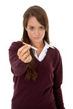 Schoolgirl holding cigarette Stock Photography