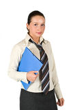 Schoolgirl holding a folder. Schoolgirl holding a blue folder and looking at you isolated on white background,check also royalty free stock photos