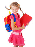 Schoolgirl  holding pile of books. Stock Photography