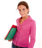 Schoolgirl holding two folders Stock Photography