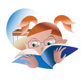Schoolgirl for homework in reading. Girl reading a book on homework Royalty Free Stock Photo