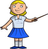 Schoolgirl indicates something by pointer Stock Images