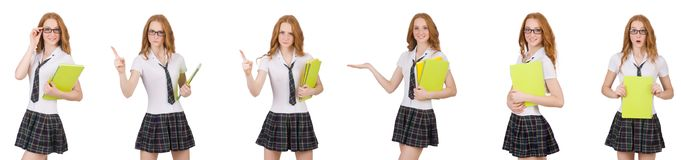The schoolgirl isolated on the white. Schoolgirl isolated on the white Royalty Free Stock Image