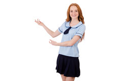 The schoolgirl isolated on the white Royalty Free Stock Photos