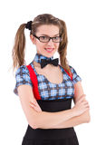 The schoolgirl isolated on the white Royalty Free Stock Image