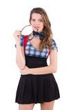 The schoolgirl isolated on the white Royalty Free Stock Photography