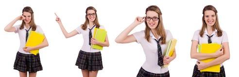 The schoolgirl isolated on the white Stock Photos