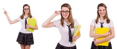 The schoolgirl isolated on the white Stock Photo