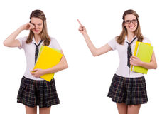 The schoolgirl isolated on the white Stock Photography