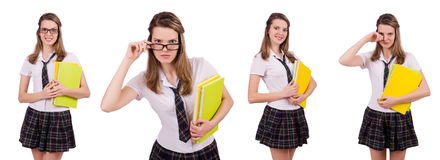 The schoolgirl isolated on the white. Schoolgirl isolated on the white Royalty Free Stock Photo