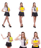 The schoolgirl isolated on the white Stock Images
