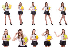 The schoolgirl isolated on the white Stock Image