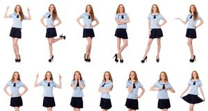 Young naughty student female isolated on white Royalty Free Stock Photos