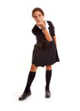 Schoolgirl kiss blowing Royalty Free Stock Images
