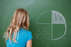 Schoolgirl learning the divisions. On a blackboard stock photography