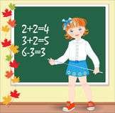 Schoolgirl on the lesson of mathematics. Royalty Free Stock Image