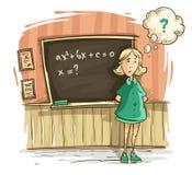 Schoolgirl at lesson in school girl Vector Illustration