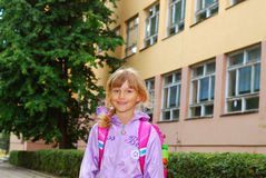 Schoolgirl after lessons Stock Photos