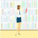Schoolgirl in the library. A nice girl is looking at books for a lesson. Next shelf of the cabinet with books. Vector illustration royalty free illustration