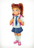 Schoolgirl. Little girl cartoon character Stock Photography