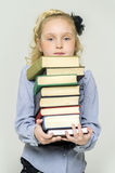 Schoolgirl and a lot of books. Young schoolgirl and a lot of books Stock Photo