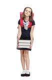 Schoolgirl med portföljen och böckerna Royaltyfria Bilder