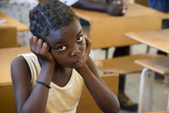 Thoughtful schoolgirl in Namibia Stock Photography