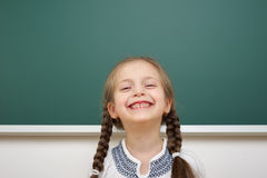 Schoolgirl near school board Royalty Free Stock Photo