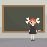 Schoolgirl  near the school board. Schoolgirl in a classroom near the school board. Soviet schoolgirl in school uniform. Simple flat vector Stock Image