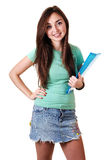 Schoolgirl with notebook. Royalty Free Stock Photo