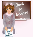 Schoolgirl with notebook Back to school Stock Image