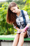 Schoolgirl Outdoor Royalty Free Stock Photography