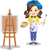 Schoolgirl. With a palette near an easel paints a picture on canvas a picture,on a white background Royalty Free Stock Images