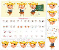 Schoolgirl. Parts of body template for design work and animation. Face and body elements. Funny cartoon character. She nodded her head yes. She shook her head Royalty Free Stock Photos
