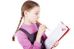 Schoolgirl passed the test Royalty Free Stock Photo