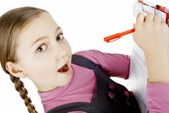 Schoolgirl passed the test perfectly Royalty Free Stock Images