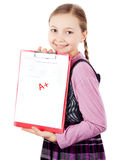 Schoolgirl passed the test perfectly Royalty Free Stock Photos