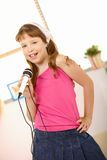 Schoolgirl performing song Royalty Free Stock Image