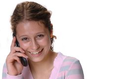 Schoolgirl on the phone Royalty Free Stock Photo