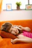 Schoolgirl on phone call Stock Image