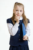 The schoolgirl with the plastic folder. The girl of 9 years in a school uniform with the blue plastic folder for documents poses in studio royalty free stock image