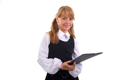 Schoolgirl Portrait With Black Folder Royalty Free Stock Images