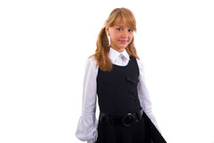 Schoolgirl Portrait With Black Folder. Stock Photo