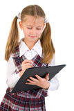 Schoolgirl Portrait With Black Folder Stock Image
