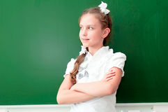 Schoolgirl portrait near the blackboards Stock Photography