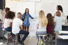 Schoolgirl presenting in front of science class, close up Royalty Free Stock Photography
